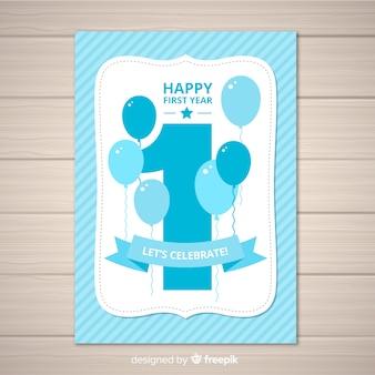 Piękny pierwszy szablon zaproszenia urodziny