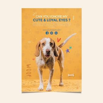 Piękny pies przyjmuje szablon plakatu dla zwierząt domowych