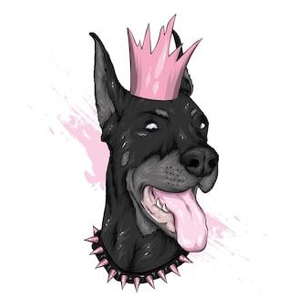 Piękny pies w koronie