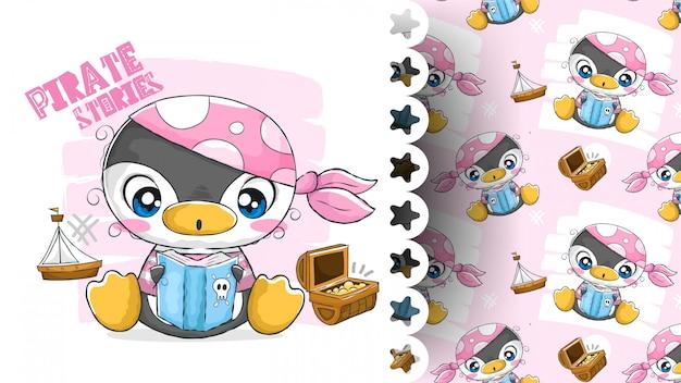 Piękny pingwin czytanie książki z pirackimi ubraniami