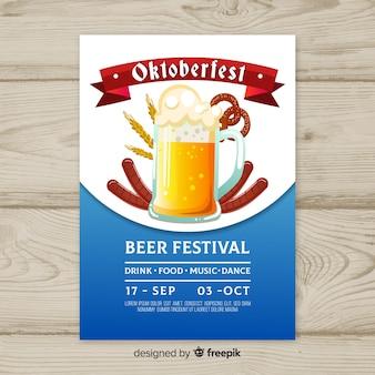 Piękny plakat party oktoberfest z płaskiej konstrukcji