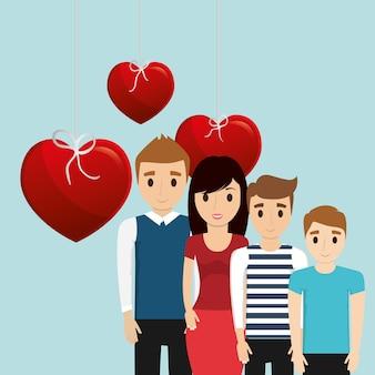 Piękny plakat rodzinny razem serce dekoracji