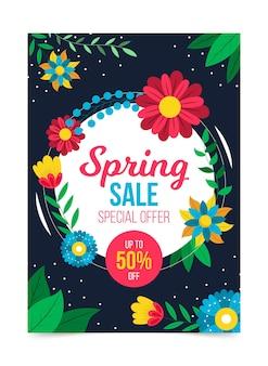 Piękny Plakat Szablon Sprzedaży Wiosennej Darmowych Wektorów