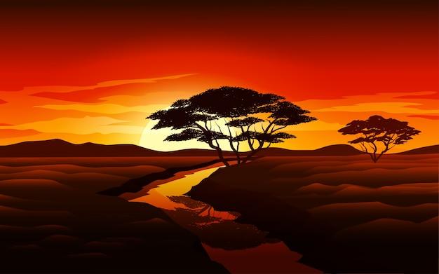 Piękny płaski krajobraz zachód słońca z rzeką