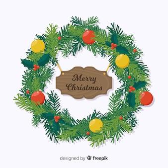 Piękny płaski projekt świątecznych dekoracji