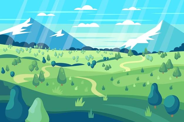 Piękny płaski wiosenny krajobraz