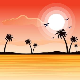 Piękny plażowy zmierzchu krajobraz natura