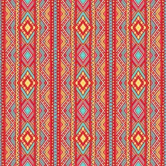 Piękny plemienny pionowy wzór w paski z kropkami i trójkątami