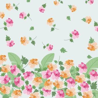 Piękny pomarańczowy i różowy kwiatowy wzór liści.