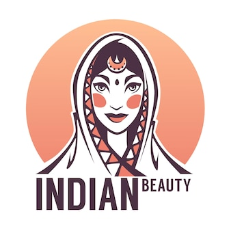 Piękny portret kobiety indyjskiej na logo, etykiety, godło