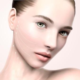 Piękny portret twarzy modelki, model ilustracji 3d do pielęgnacji skóry lub reklam medycznych, z linią strzałek do podnoszenia