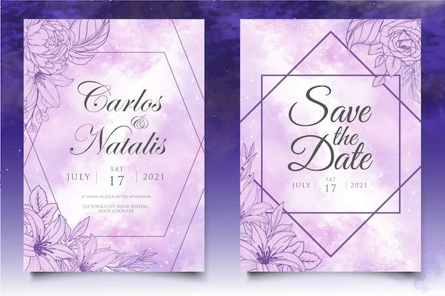 Piękny powitalny i kwiatowy lineart szablon karty ślubu