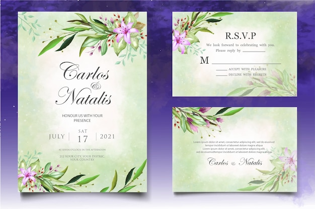 Piękny powitalny i kwiatowy szablon karty ślubu akwarela