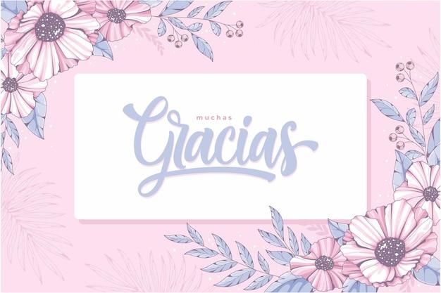 Piękny prezent karty gracias różowy kwiatowy tło