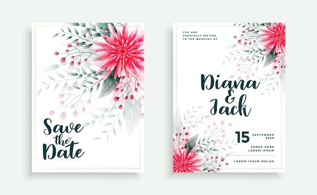 Piękny projekt karty ślubu z dekoracją kwiatową