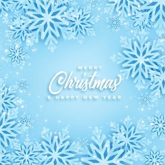 Piękny projekt karty wesołych świąt bożego narodzenia i zimowe płatki śniegu
