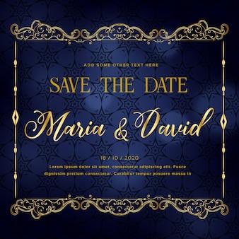 Piękny projekt karty zaproszenie na ślub w stylu premium
