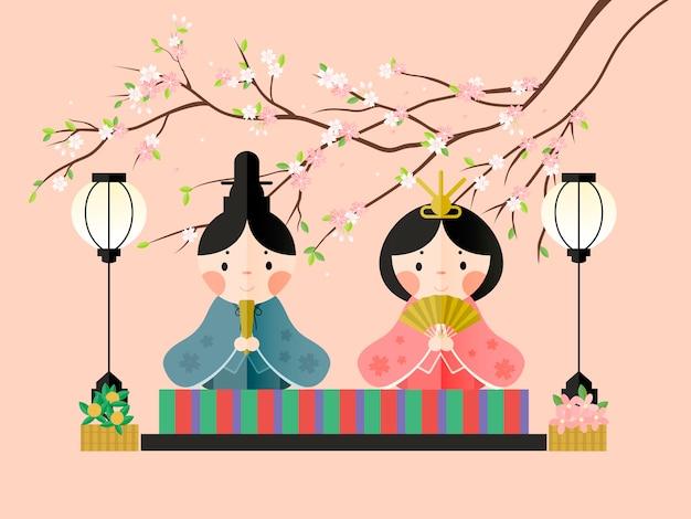 Piękny Projekt Kolekcji Elementów Japanese Doll Festival Premium Wektorów