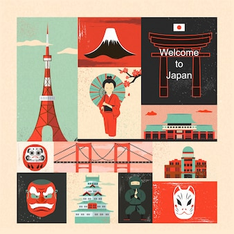 Piękny projekt kolekcji elementów podróży w japonii w stylu płaskiej