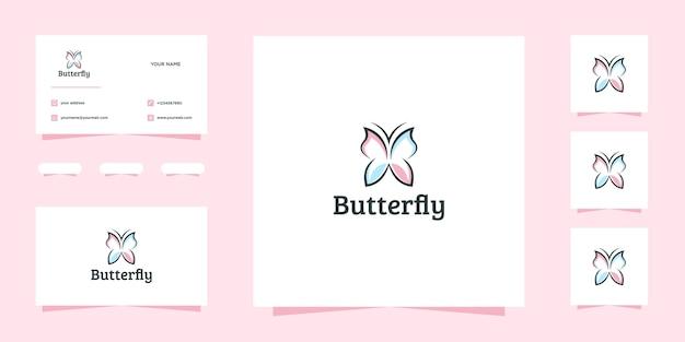 Piękny projekt logo motyl i wizytówka