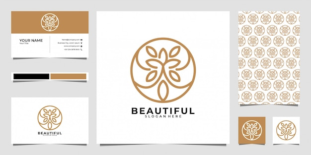 Piękny projekt logo sztuki linii, wzór i wizytówka