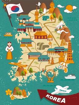 Piękny projekt mapy podróży korei południowej w płaskim stylu