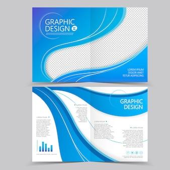 Piękny projekt szablonu broszury składanej na pół z elementami fali