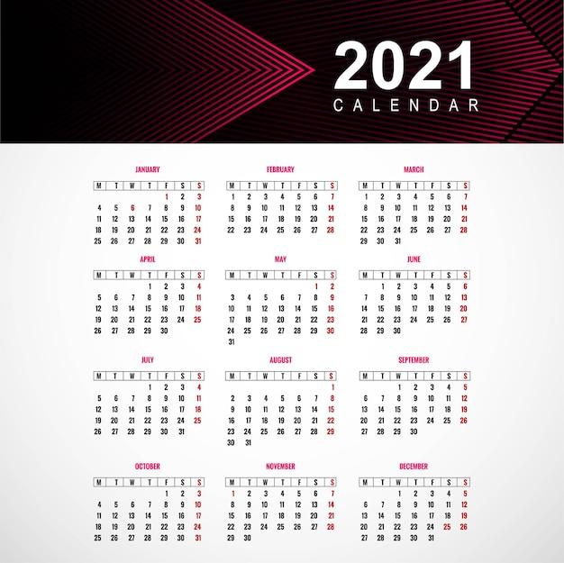 Piękny projekt szablonu kalendarza 2021