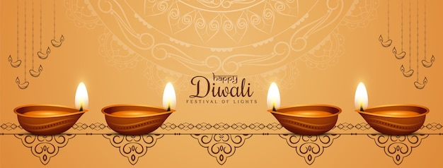 Piękny projekt transparentu etnicznego festiwalu happy diwali