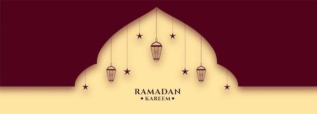 Piękny projekt transparentu festiwalu ramadan kareem świętego miesiąca