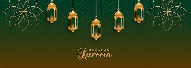 Piękny projekt transparentu w złotym arabskim stylu ramadan kareem