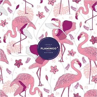 Piękny rajski wzór flamingo