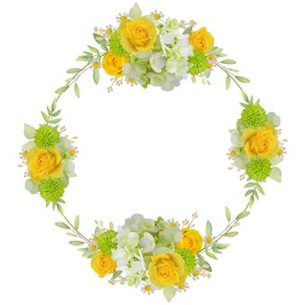 Piękny ramowy tło z kwiecistymi różami i hortensją