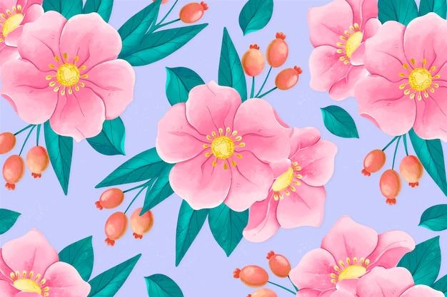 Piękny ręcznie malowany kwiatowy wygaszacz ekranu