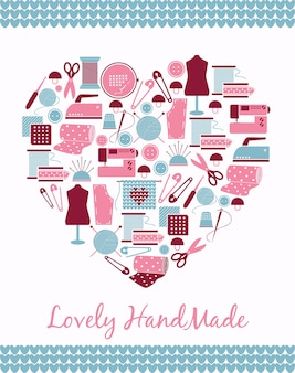 Piękny, ręcznie robiony. znak w kształcie serca z szycia, dziania i wzorów sztuk.