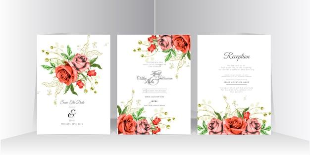 Piękny, ręcznie rysowane czerwona róża ślubna karta zaproszenie zestaw