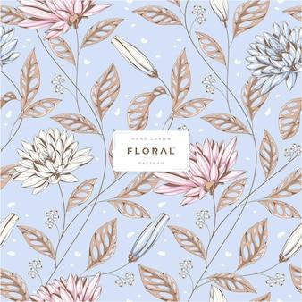 Piękny ręcznie rysowane kwiatowy wzór
