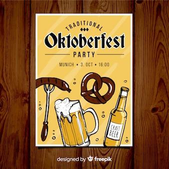 Piękny ręcznie rysowane plakat party oktoberfest