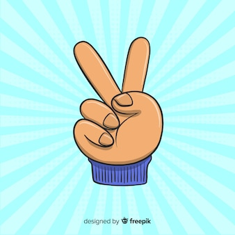 Piękny ręcznie rysowane symbol palce pokoju