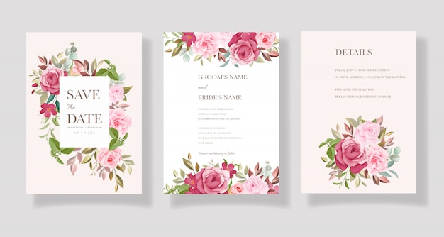 Piękny, ręcznie rysowane szablon karty ślubu z bordowym i różowym kwiatowym obramowaniem i dekoracją