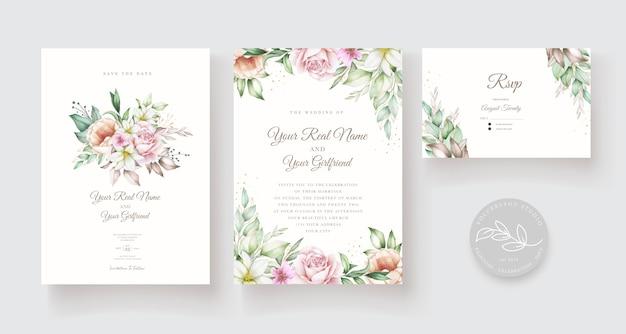 Piękny ręcznie rysowane szablon karty ślubu
