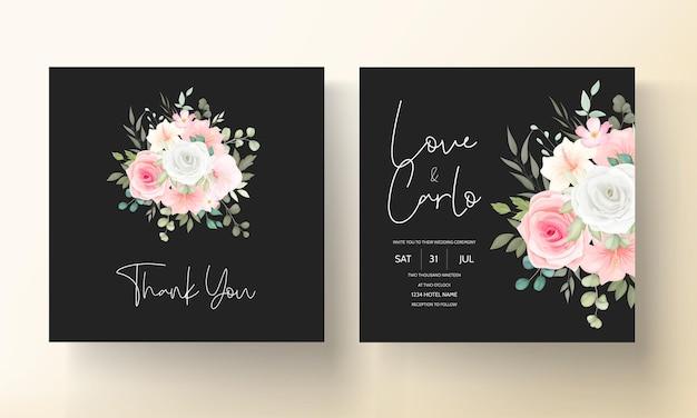 Piękny, ręcznie rysowane szablon karty zaproszenie na ślub kwiatowy