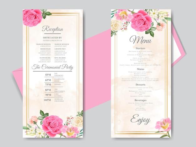 Piękny, ręcznie rysowane szablon karty zaproszenie na ślub z różową różą