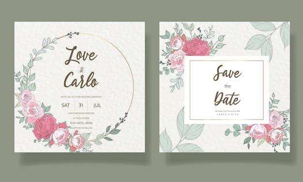 Piękny, ręcznie rysowane szablon karty zaproszenie na ślub