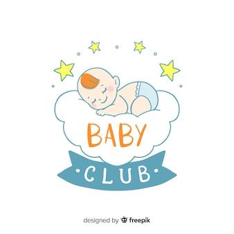 Piękny ręcznie rysowane szablon logo dla niemowląt