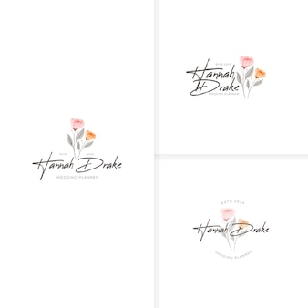Piękny, ręcznie rysowane szablon logo rustykalnego kwiatu