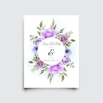 Piękny ręcznie rysowane szablon zaproszenia ślubne fioletowe róże