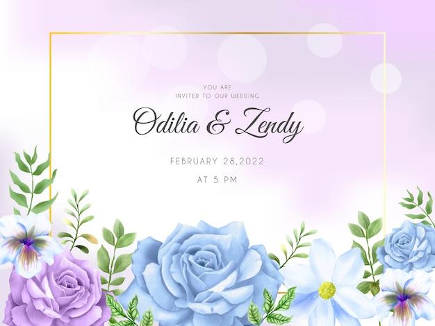 Piękny ręcznie rysowane szablon zaproszenia ślubne niebieskie i fioletowe róże