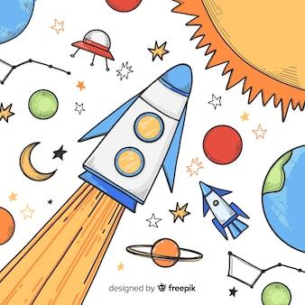 Piękny ręcznie rysowane tło statku kosmicznego