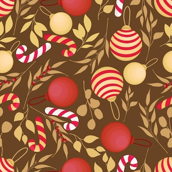 Piękny ręcznie rysowane wzór elementów świątecznych